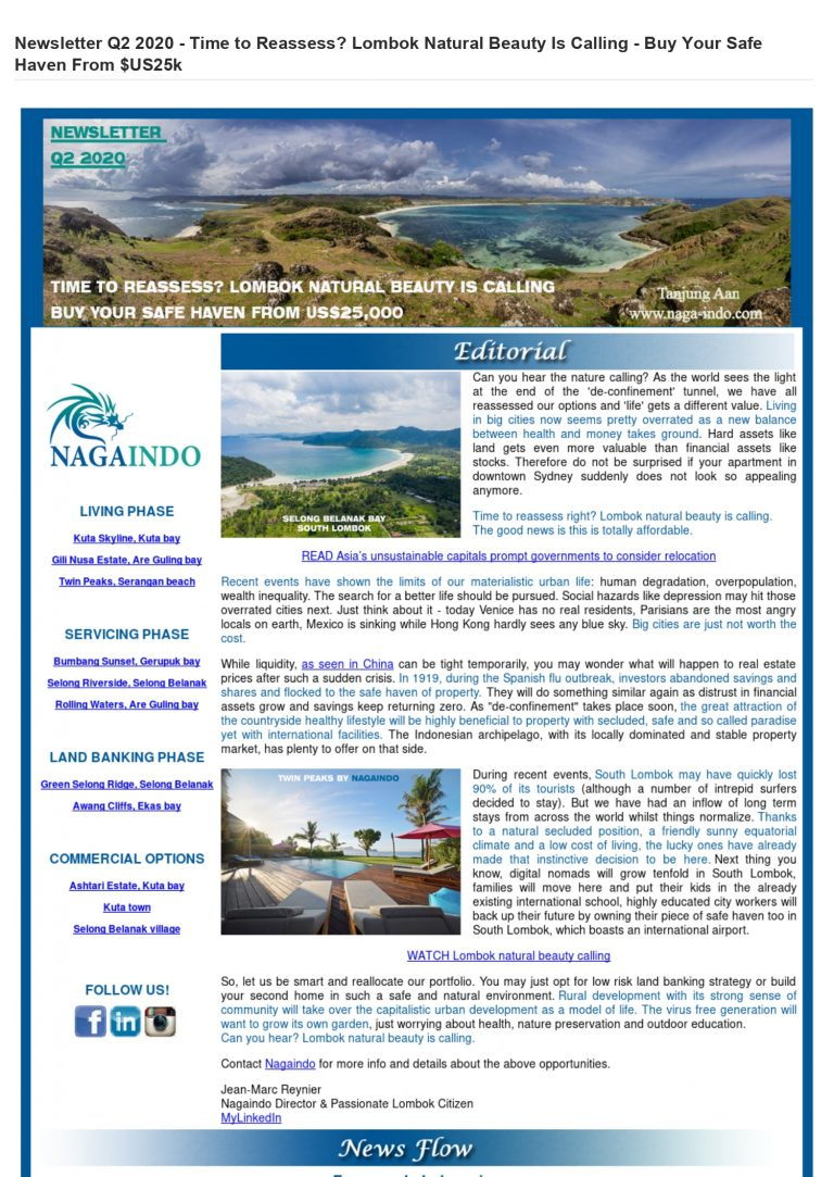 Nagaindo land for sale investment property Kuta Lombok newsletter